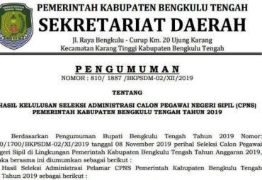 Pengumuman Hasil Seleksi Administrasi CPNS Bengkulu Tengah…