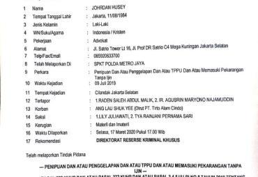 Agusrin Dilaporkan ke Polda Metro Jaya Atas Dugaan Penipuan…